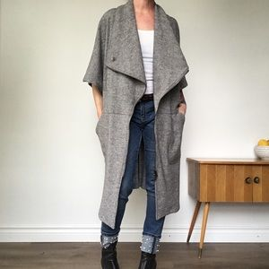 AYRTIGHT Grey Asymmetrical Zip Front Wool Vest M